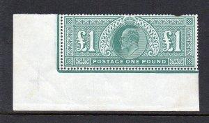 GB KEVII SG266 £1 Dull Blue Green Corner Marginal Unmounted Mint/MNH Cat £3,500