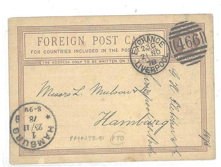 AA104 GB Stationery 1878 PENNY FARTHING CARD Advert Liverpool Forwarding Agent