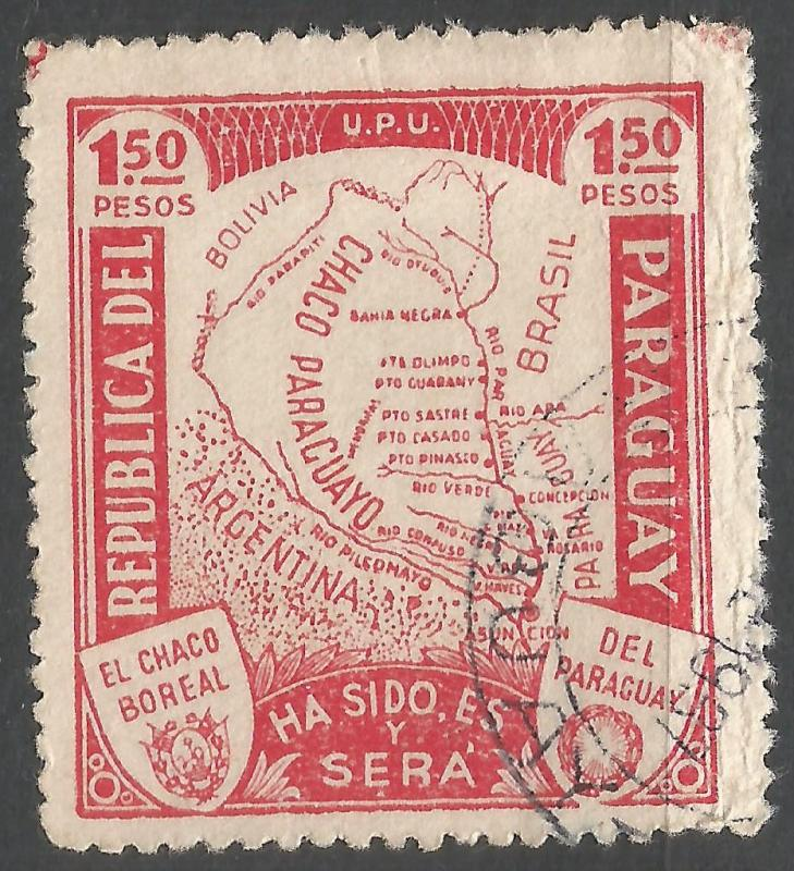 PARAGUAY 324 VFU MAP W622-4