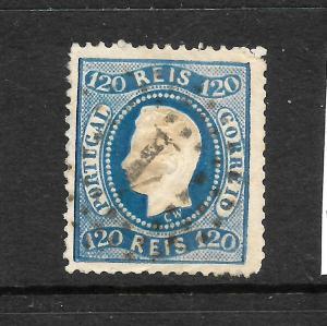 PORTUGAL 1867 120r BLUE  KL  FU  P12 1/2 SG 64