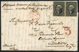#36 PAIR PLATE #I ON COVER TO ENGLAND CV $900 BT7735 HS112636