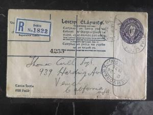 1936 Dublin Ireland Registered Cover To Venice Ca Usa