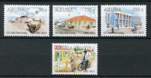 Aruba 2017 MNH Aruba Post 125 Yrs 4v Set Motorcycles Cars Postal Services Stamps