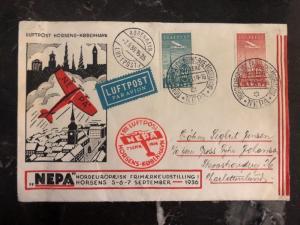 1936 Horsens Denmark First Flight cover FFC to Copenhagen NEPA Airways
