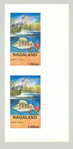Nagaland (Propaganda) 1971 Fish & Birds 1v Imperf S/S Collective Proof Pair