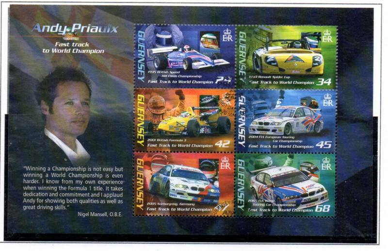 Guernsey Sc 910a 2006 Andy Priaulx stamp sheet used