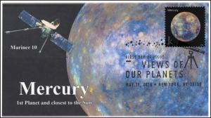 2016, Views of our Planets, Mercury, B/W Postmark, Mariner 10 FDC, 16-229