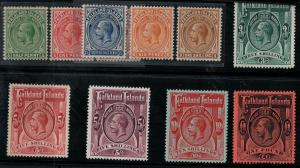 Falkland Islands 1912-1914 SC 30-40 Mint SCV $1391.00 Set