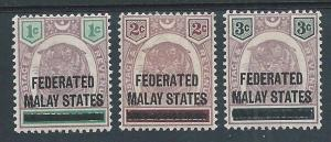 MALAYA FMS 1900 opts on tigers SG1-3 fine mint.............................50100