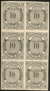 J) 1875 MEXICO, NUMERAL, PORTE DE MAR, NUMERAL 10 CENTS, BLOCK OF 6, IMPERFORATE
