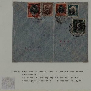 Chile/France airmail cover 11.1.32
