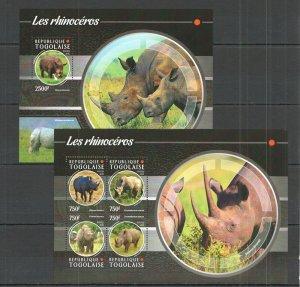 TG126 2015 TOGO FAUNA WILD ANIMALS RHINO LES RHINOCEROS KB+BL MNH