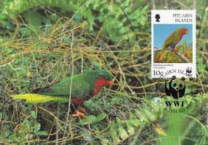 Pitcairn Islands 1996 Maxicard Sc #458 10c Stephen's lorikeet WWF