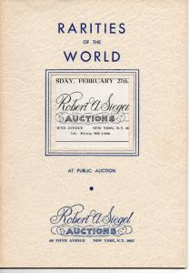 Robert Siegel Auction Galleries Rarities of the World Stamp Auction Catalog Run!