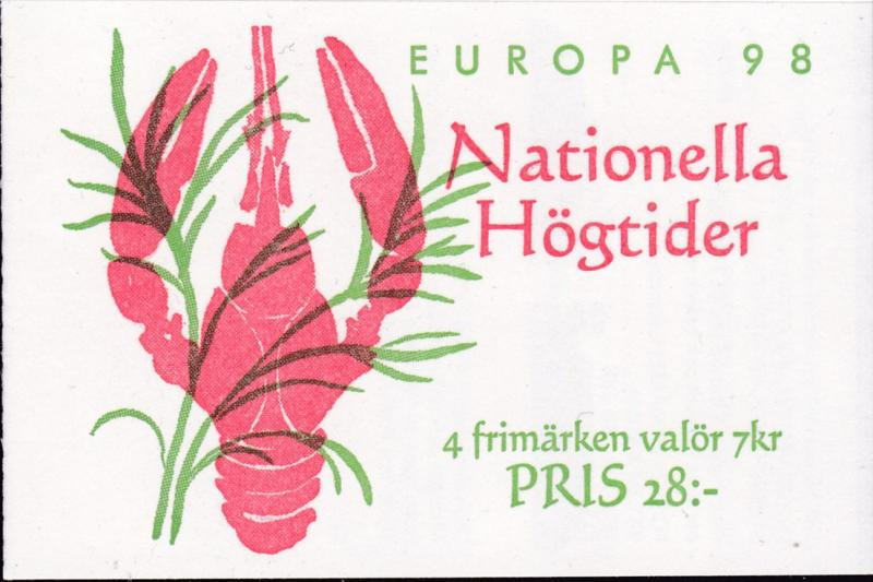 Sweden 1998 EUROPA Issue Complete Booklet with Labels Festivals VF/NH