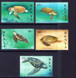 Kenya 2000 MNH  Set Marine Life, Sea Turtles SG759 - 763 Scott 740 - 744