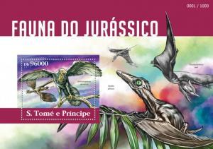 SAO TOME E PRINCIPE 2015 SHEET JURASSIC FAUNA DINOSAURS st15312b