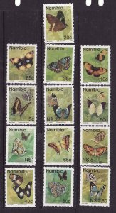 Namibia-Sc#742-54 ex 745A- id7-unused NH set-Insects-Butterflies-1993-