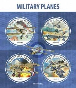Z08 MLD190310a MALDIVES 2019 Military planes MNH ** Postfrisch