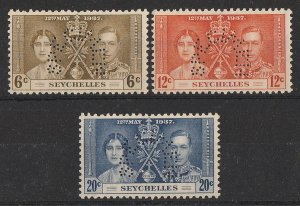 SEYCHELLES 1937 KGVI Coronation set 12c-20c perf SPECIMEN. MNH **.