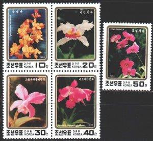 North Korea. 1993. 3495A-99A. orchids, flowers, flora. MNH.