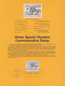 US SP691 Special Olympics Souvenir Page #2142