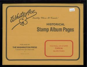 White Ace Historical Stamp Album Pages Football Topical Blank Pages Pack of 12