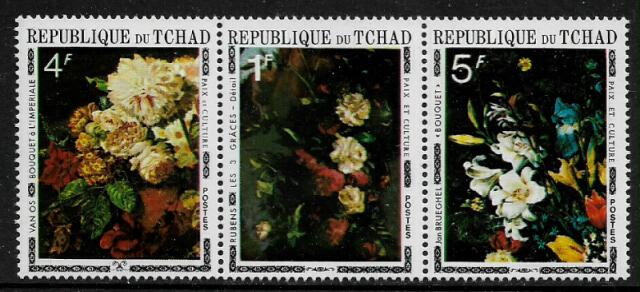 Chad #236A MNH Strip - Flower Paintings