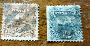 Scott # 113 & 117 Used Pictorials of 1869 (HP30)