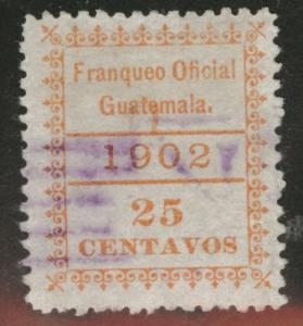 Guatemala  Scott o5 used  official  stamp p12