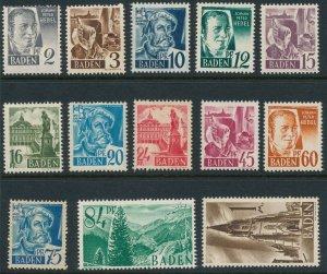 Stamp Germany SC 5N1-13 Set 1947 Post WWII Baden Occupation MNG
