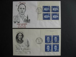 Canada Meighen 2 different cachet FDC First day covers Sc 393 plate blocks