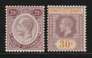 Malaya Singapore 1913 & 1914 Straits Settlements KGV 21c & 30c MLH SG#204 & 207