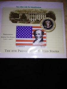 the 8th president of the US featured on a mini sheet from Liberia