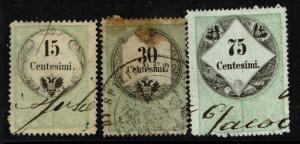 Italy 3 Tuttigli Atti 1854 Revenues, 15c and 30c toned - S5623