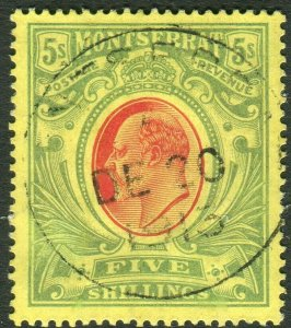 MONTSERRAT-1909 5/- Red & Green/Yellow.  A fine used example Sg 47