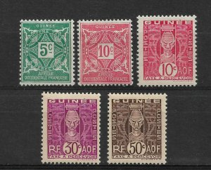 French Guinea 1914/38, Lot of 5 Postage Due Stamps,VF MH*OG (RONPAT-5)