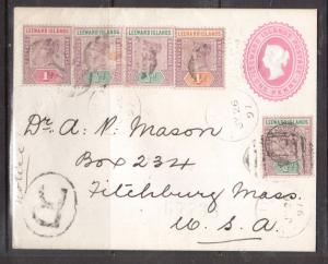 Leeward Islands #1 #2 #4 #9 Very Fine Used On Registered STN Cover To MASS USA