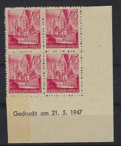 Germany - under French occupation Scott # 6N10; mint nh, b/4, var print date