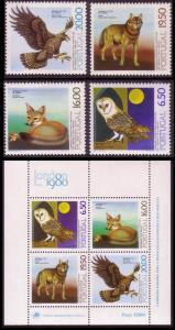 Portugal Eagle Owl Birds Fox Wolf Lisbon Zoo 4v+MS SG#1796-MS1800