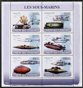 Comoro Islands MNH S/S Submarines 2008 6 Stamps