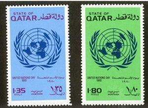 QATAR 585-6 MNH  SCV $8.00 BIN $4.00 UNITED NATIONS DAY