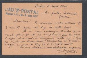 Spain H&G 35 used. 1901 10c Postal Card, CADIZ-GIESSEN, Germany, clean
