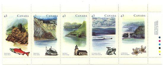 Canada USC #1489a Mint VF-NH Cat.$6.50 Strip of Five Complete Set Heritage Rivrs