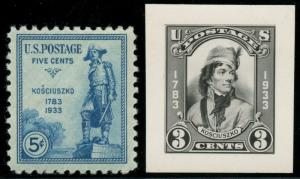 #734E KOSCIUZKO 1933 5¢ ISSUE B.E.P. PHOTO ESSAY WITH FINISHED STAMP BT8117
