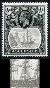Ascension SG10a 1/2d Grey-black and Black Broken Mainmast Very Fine M/Mint