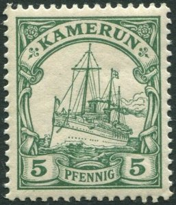 CAMEROUN-1900-11 5pf Green no watermark Sg K8 MOUNTED V36322