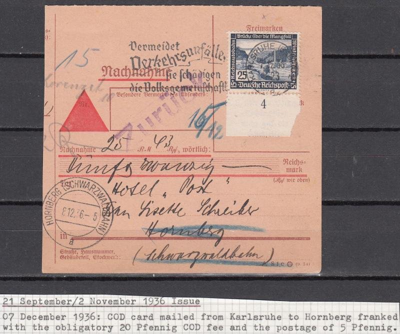 Germany - 7.12.1936 25pf Buildings as single franking on COD card (1581)