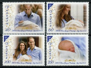Vanuatu Royalty Stamps 2013 MNH Prince George Royal Baby William & Kate 4v Set