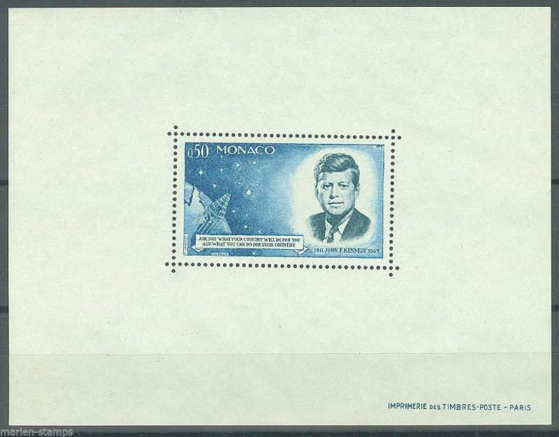 MONACO PRESIDENT JOHN F KENNEDY STAMP PERFORATED DELUXE SOUVENIR SHEET MINT NH